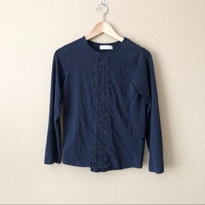 Zara girls lace inset long sleeve top